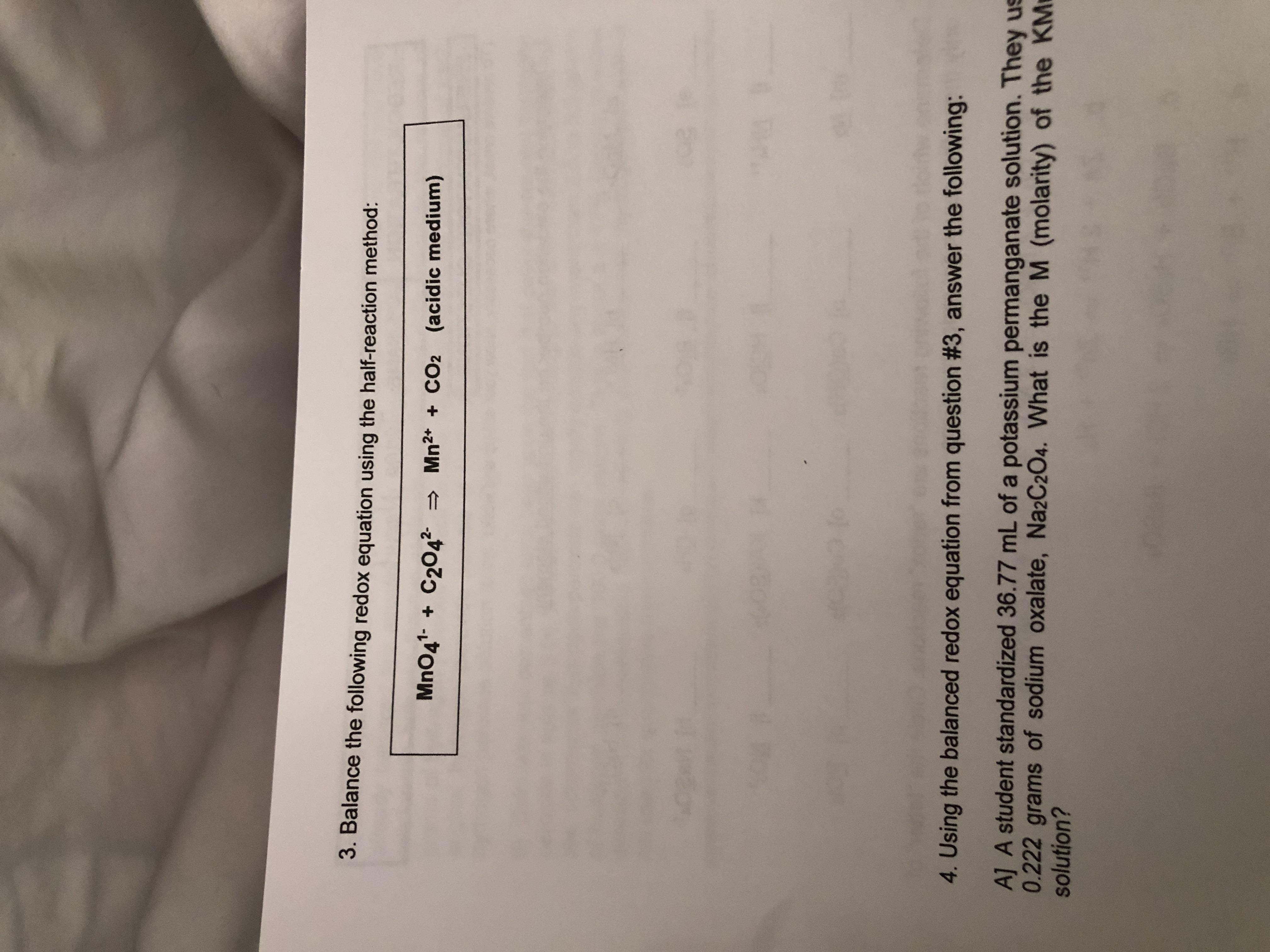 Answered 3 Balance The Following Redox Equation