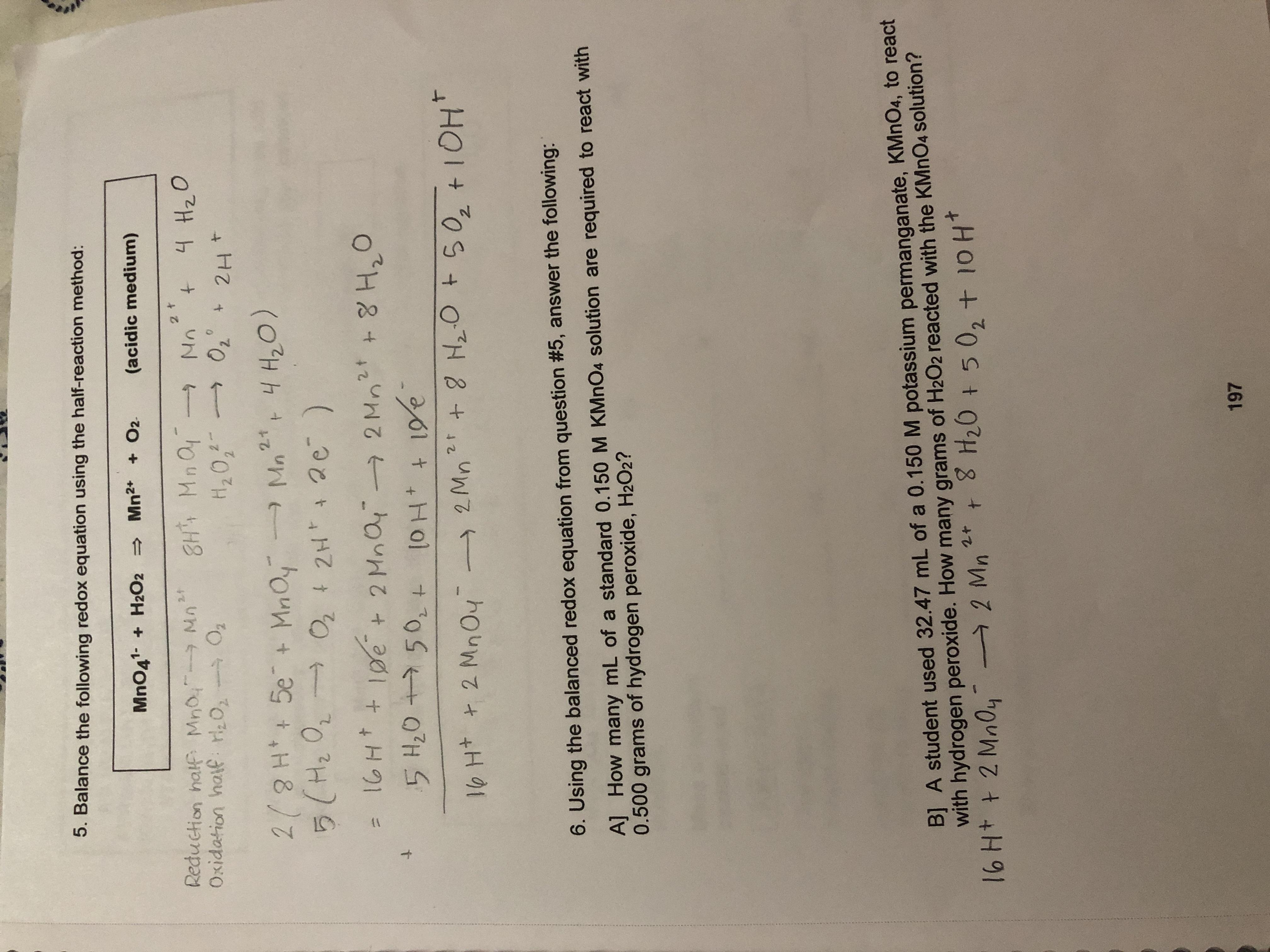 Answered 5 Balance The Following Redox Equation