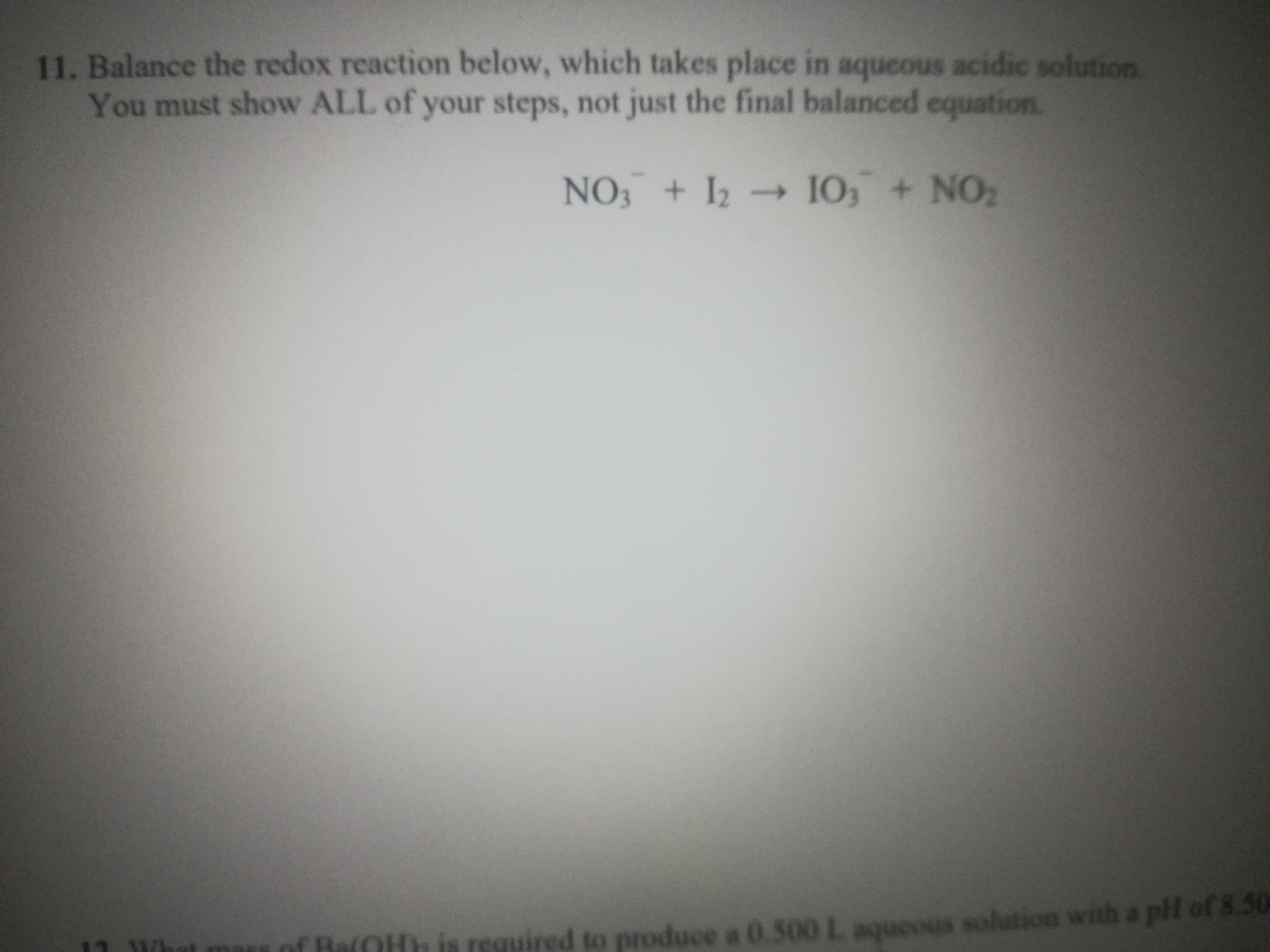 Answered 11 Balance The Redox Reaction Below