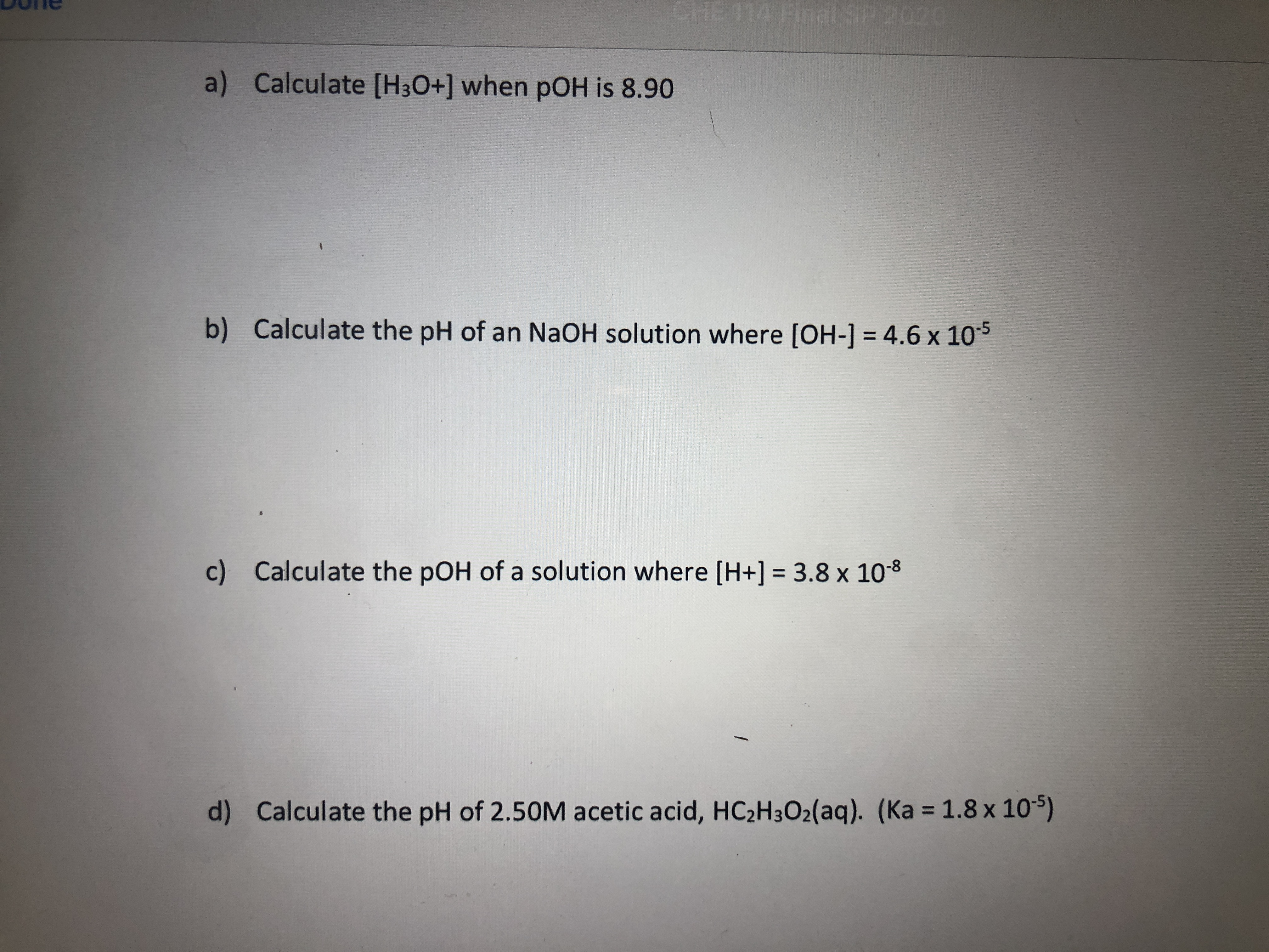 Answered A Calculate H3o When Poh Is 8 90 B