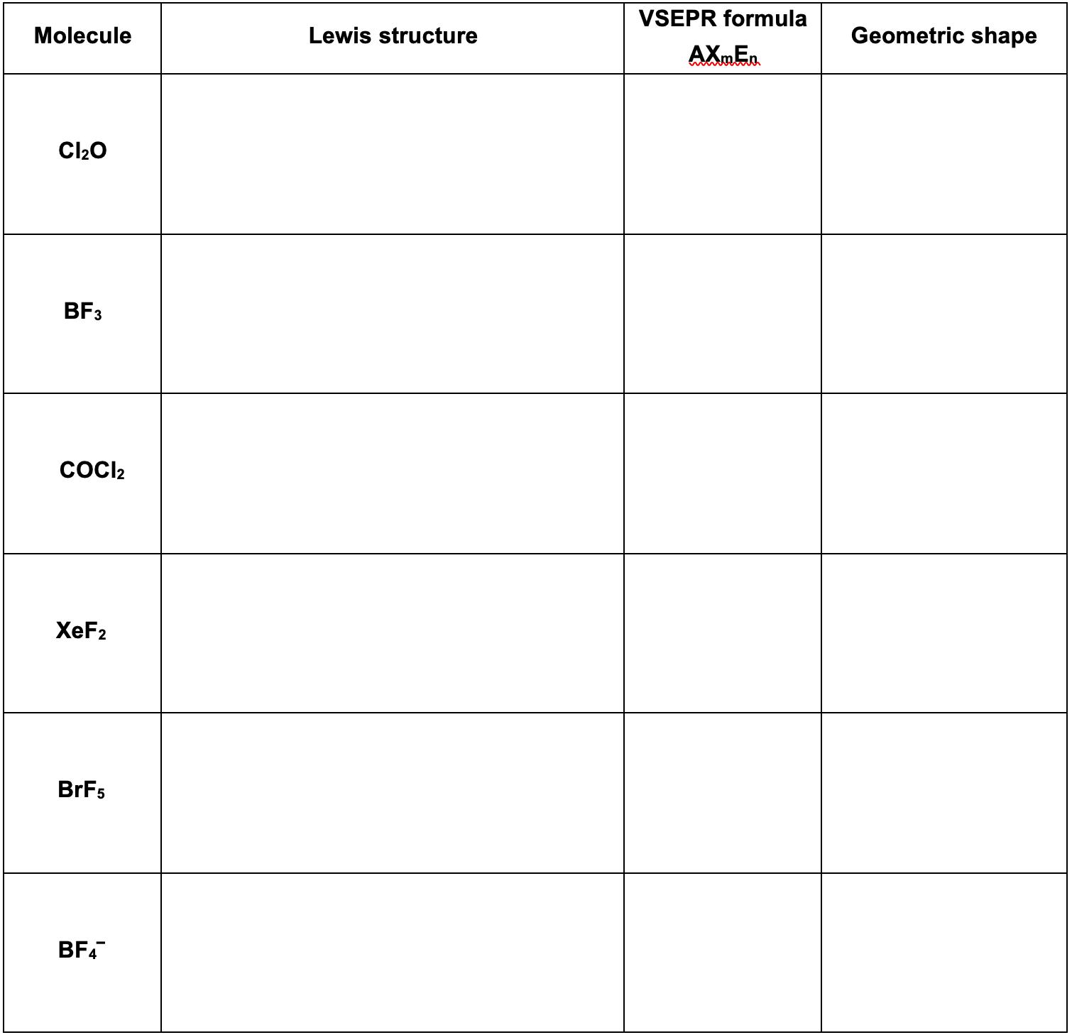 Answered Vsepr Formula Molecule Lewis Structure