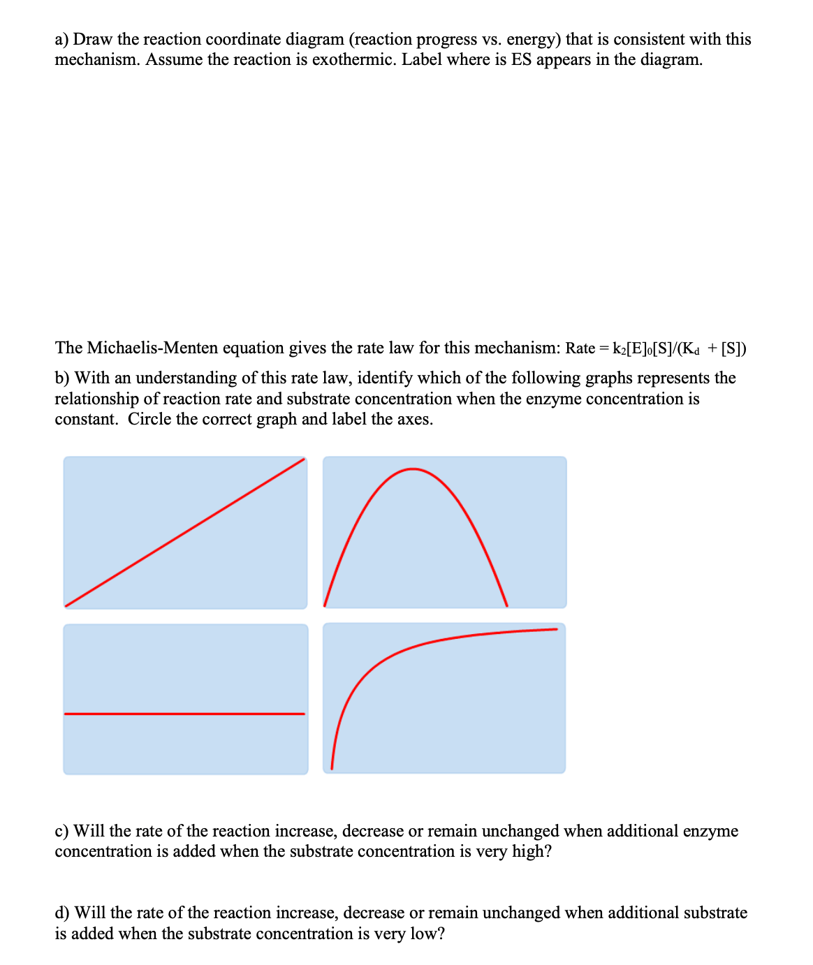 Answered A Draw The Reaction Coordinate Diagram