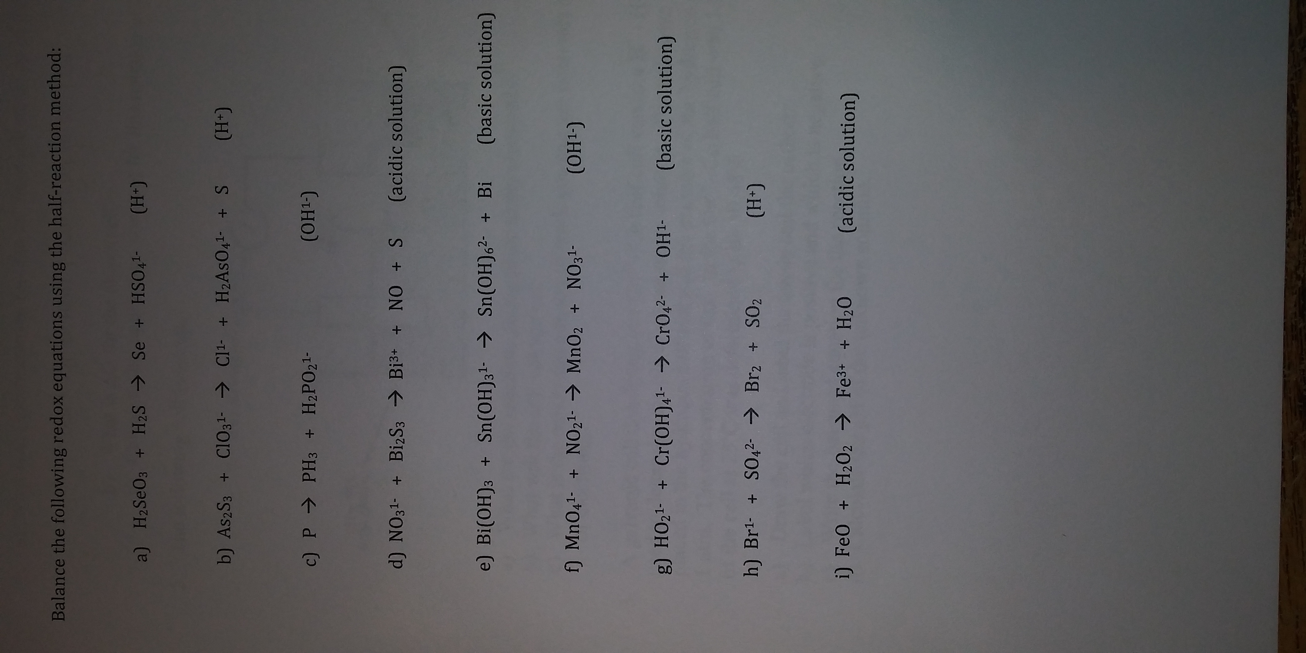 Answered Balance The Following Redox Equations