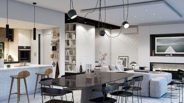 salon moderne lumineux avec une