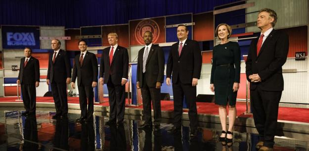 big debate stage trump cruz carly rest prez candidates 2015