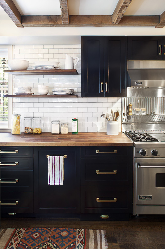Black, White and Warm Kitchen