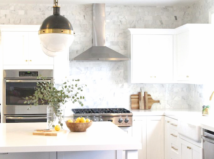 black brass and white kitchen makeover becki owens