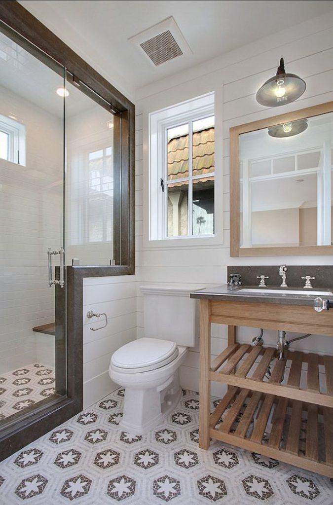 gray patterned tile bathroom