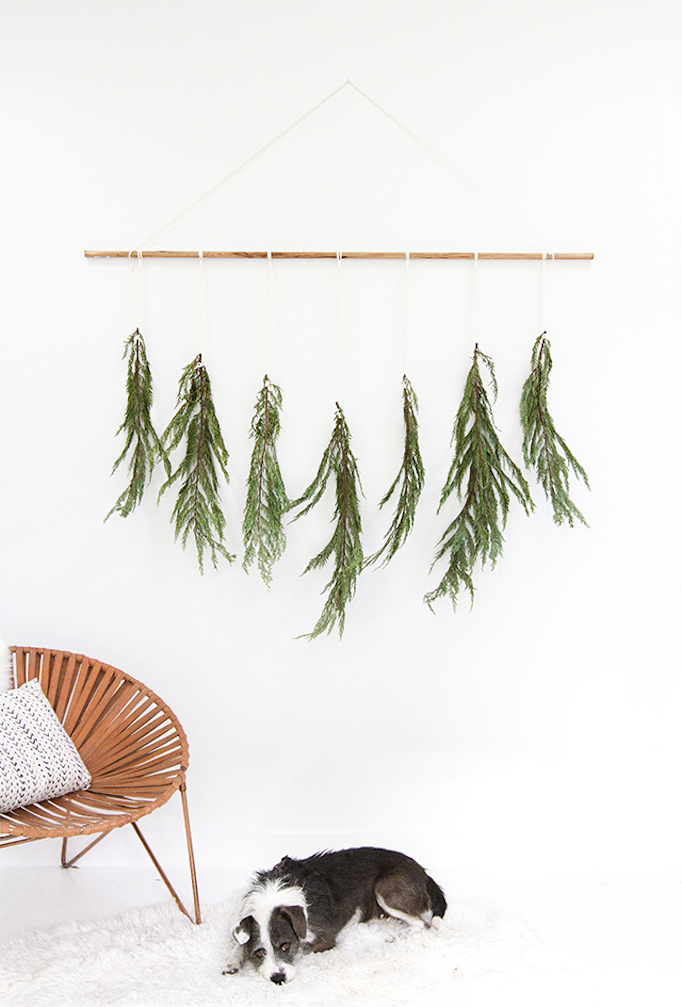 Simple Christmas Evergreen Branch Wall Hanging