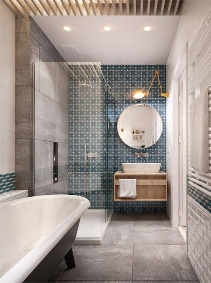 blue cement tile bathroom