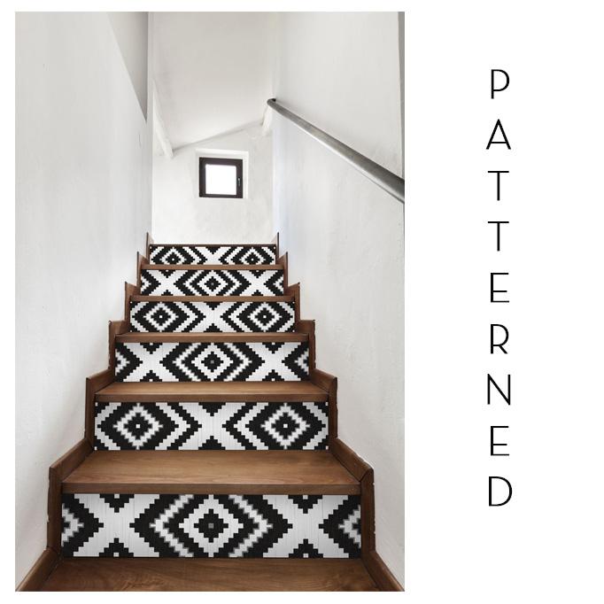 Patterned tile stairway