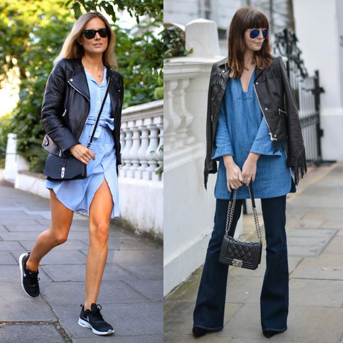 Denim Dress with Leather