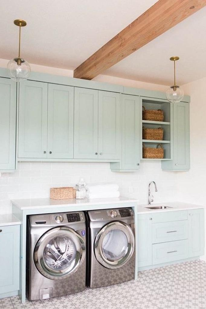 Patterned Laundry Room Tile