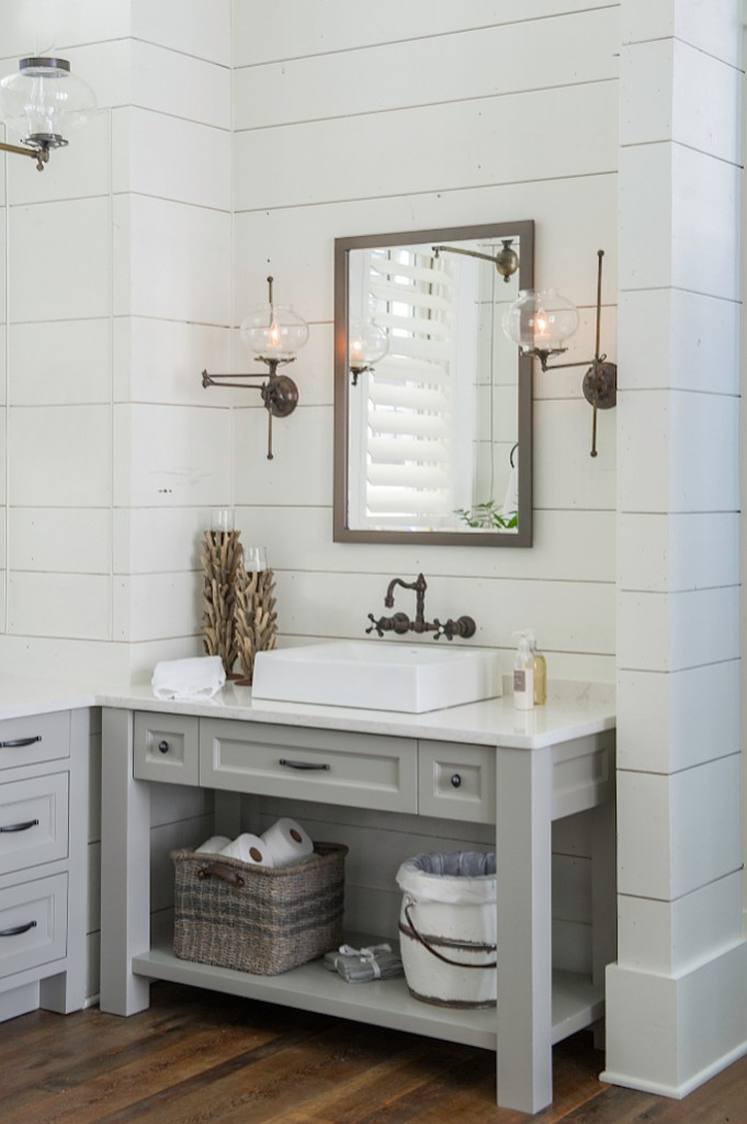 Gray, White And Vintage Bathroom