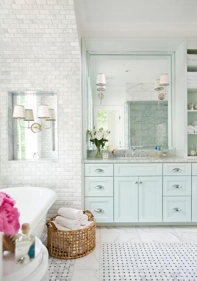light blue bathroom Cabinetry
