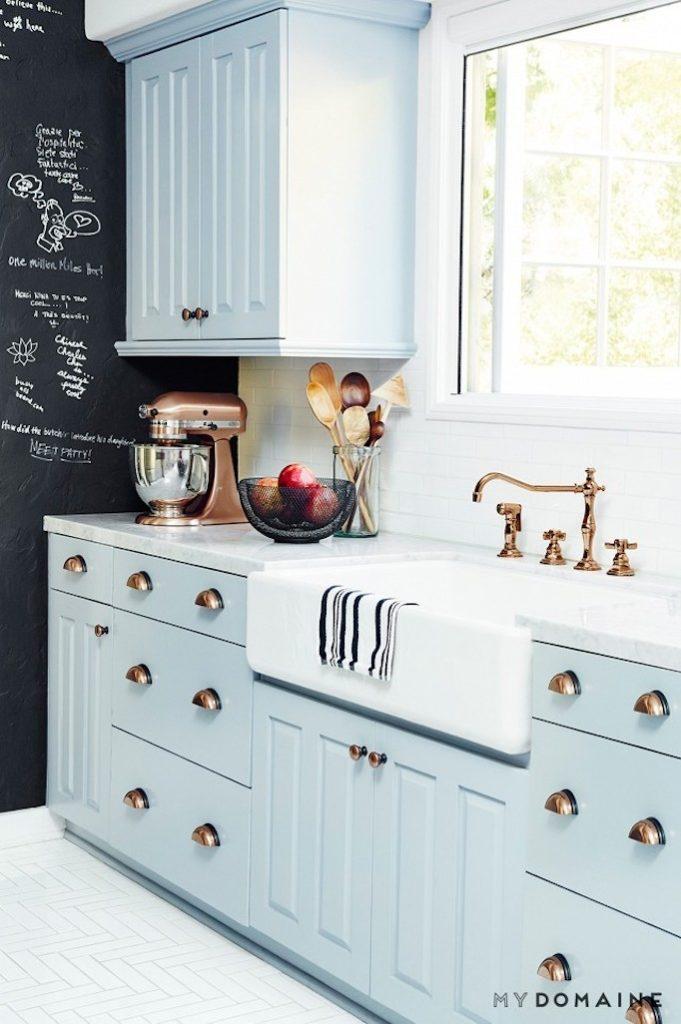 light blue painted kitchen