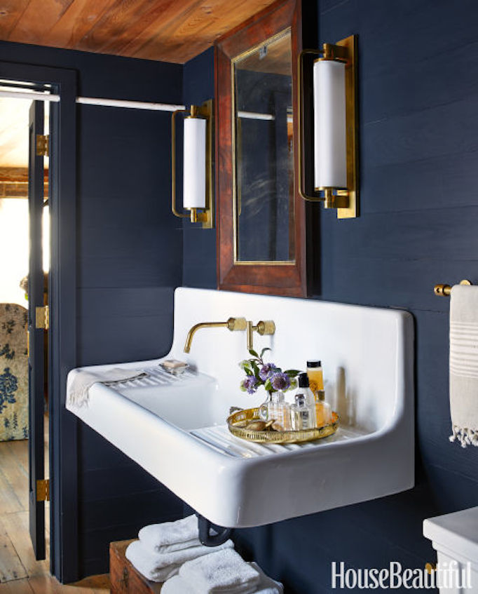 navy blue bathroom