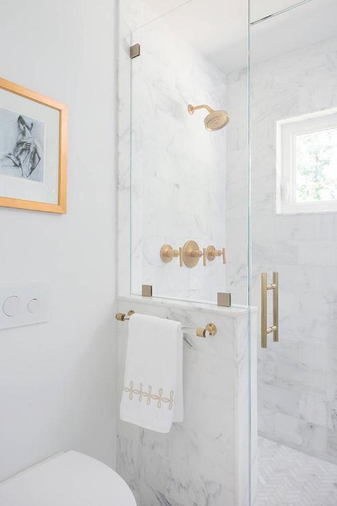 BECKI OWENS Lucite and Brass Bathroom Hardware
