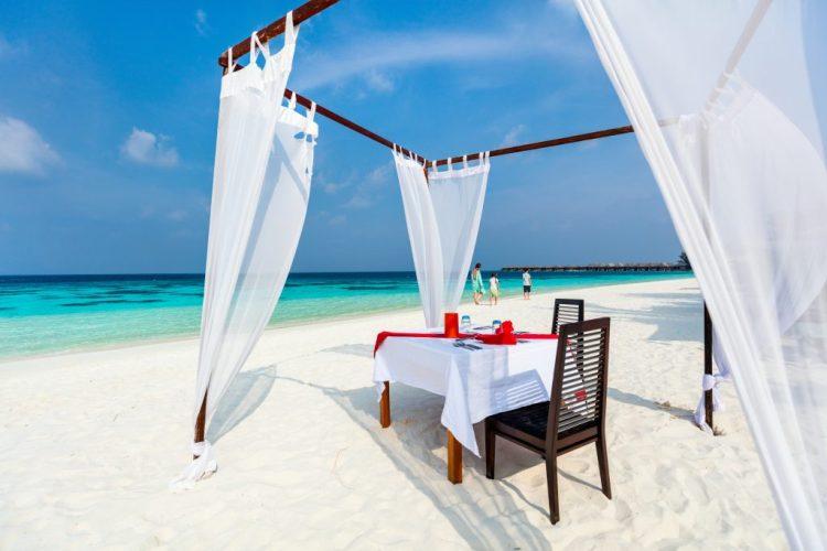 Dinner on a Maldives beach