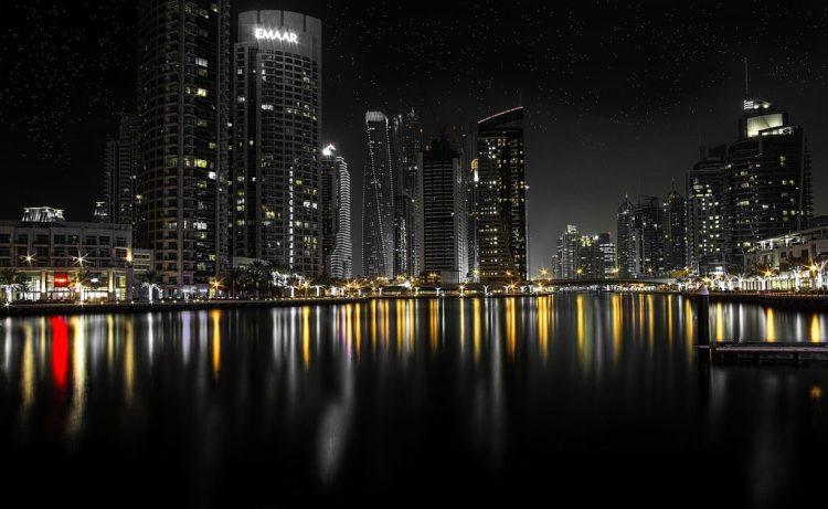 Dubai waterfront at night