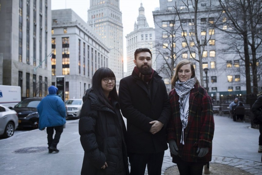 Fordham University students, Sofia Dadap, Ahmad Awad, and Julie Norris outside the Manhattan Civil Courthouse in New York City, on Jan. 3, 2018. They have filed a case against the university in an ongoing effort to have their club, Students for Justice in Palestine (SJP), recognized.