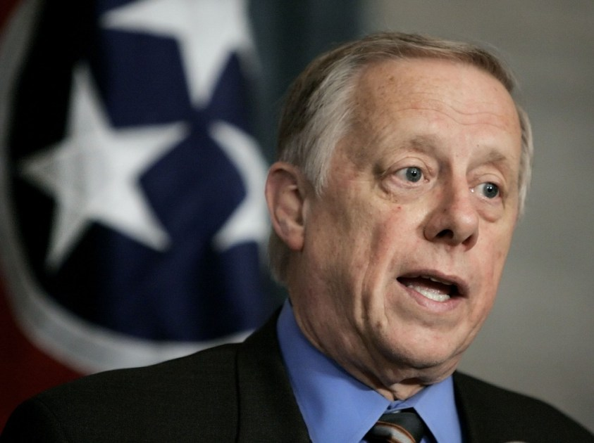 Gov. Phil Bredesen talks about his proposed budget on Monday, May 8, 2006 in Nashville, Tenn. (AP Photo/Mark Humphrey)