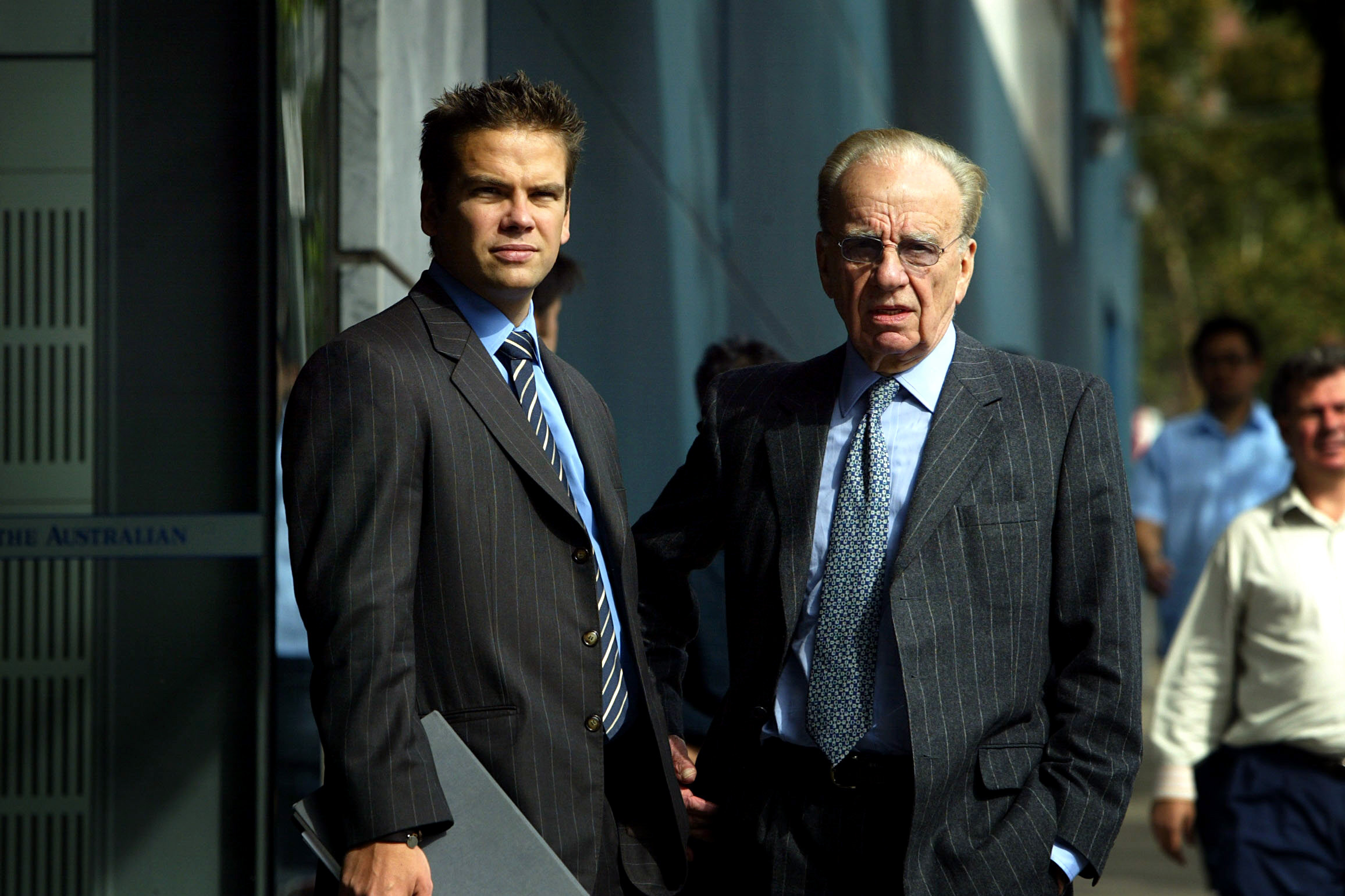 SYDNEY, AUSTRALIA - APRIL 06: (AUSTRALIA OUT) Lachlan Murdoch and Rupert Murdoch outside News Limited in Holt St, Sydney. Rupert Murdoch is Chairman and CEO of News Corporation.  (Photo by Danielle Smith/Fairfax Media via Getty Images)