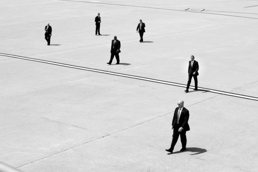 President Barack Obama walks with U.S. Secret Service agents to Air Force One at Los Angeles International Airport in Los Angeles, Calif., May 8, 2014. (Official White House Photo by Pete Souza) </p><br /><br /><br /> <p>This official White House photograph is being made available only for publication by news organizations and/or for personal use printing by the subject(s) of the photograph. The photograph may not be manipulated in any way and may not be used in commercial or political materials, advertisements, emails, products, promotions that in any way suggests approval or endorsement of the President, the First Family, or the White House.