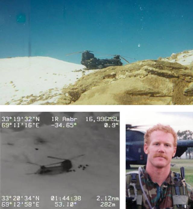 2e50a93c9cf26 Bottom left  Screengrab from drone feed during the battle of Roberts Ridge.  Bottom right  Candid photo of U.S. Navy SEAL Neil Roberts.