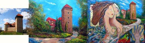 photo + 2 versions (oil on canvas, 50x60cm=