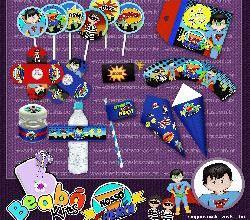 Kit de artes digitais para festa Super Herói