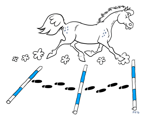 Trotting poles and distance.