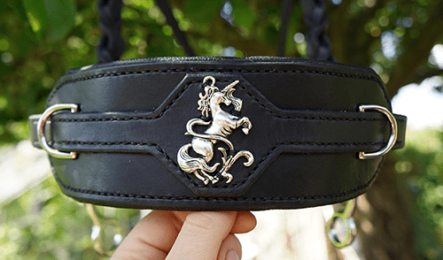 Close-up of the unicorn on Emilie's new bridle.