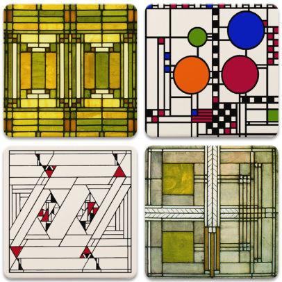 Frank Lloyd Wright Art Glass Designs Coaster Set