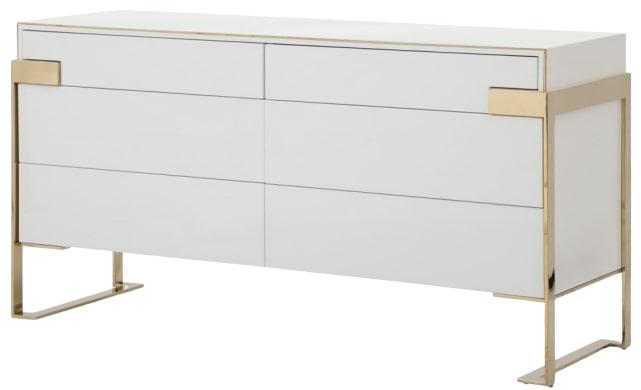 modern dresser white and champagne gold