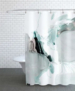abstract painting vi green dusty pink shower curtain