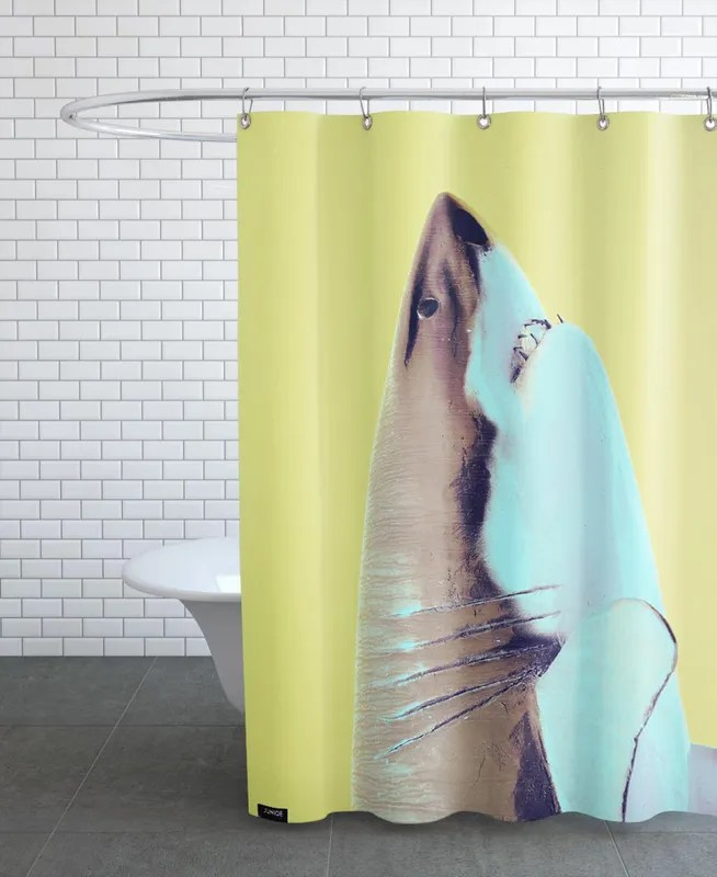 attack yellow shower curtain