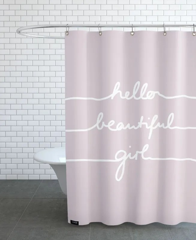hello beautiful girl shower curtain