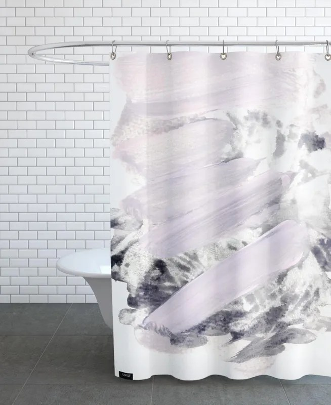 soft pink on grey shower curtain