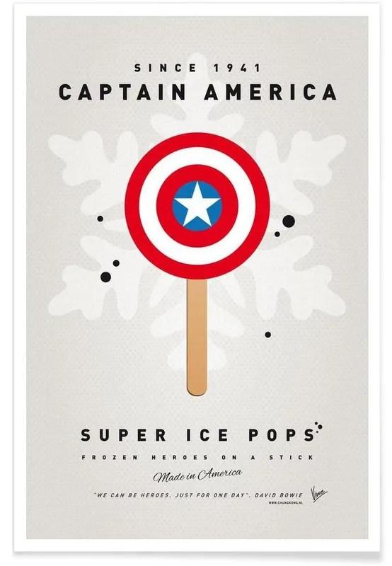 my superhero ice pop captain america poster