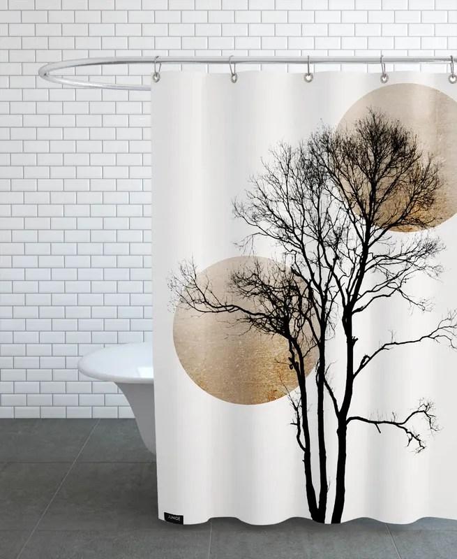 sun and moon hiding gold shower curtain