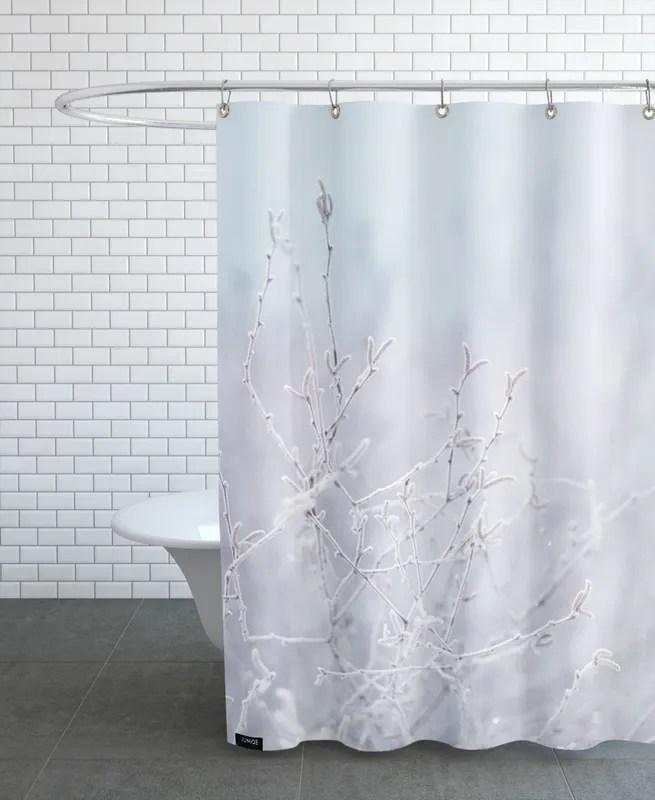 frozen twigs pastel shower curtain
