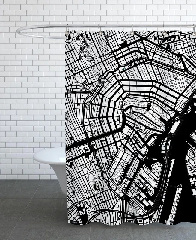 amsterdam black and white shower curtain