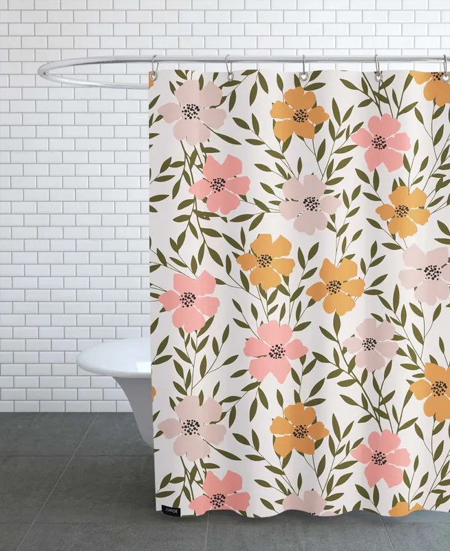 70 s floral shower curtain