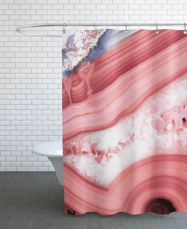 agate living coral shower curtain