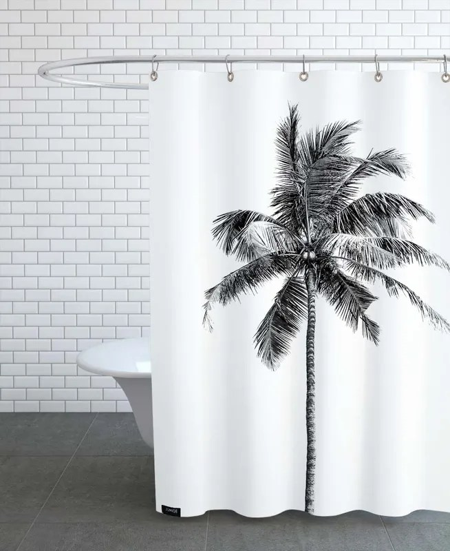palm tree by the beach 2 shower curtain