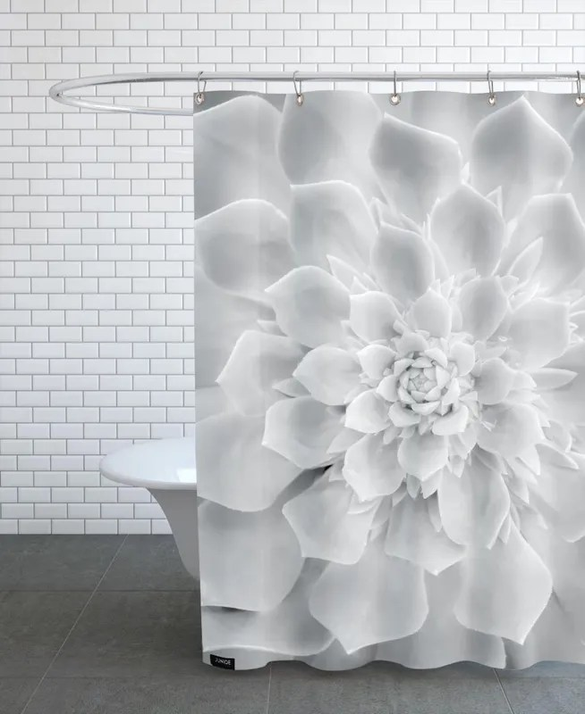 white succulent shower curtain