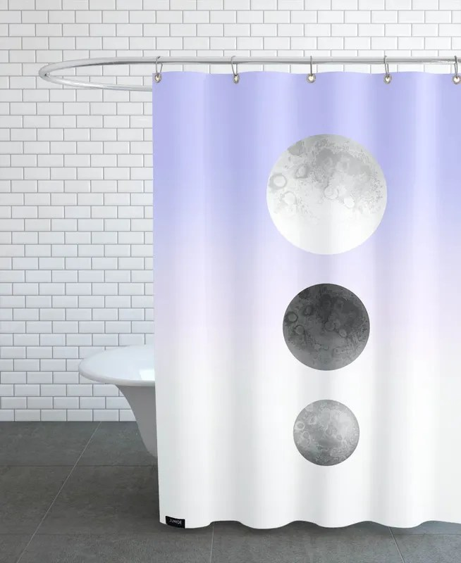 moon triplet lilac shower curtain