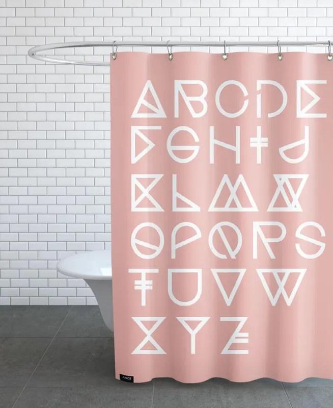 geometrical abc blush shower curtain