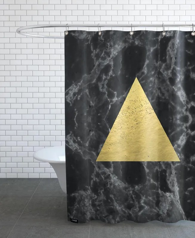 black gold marble shower curtain
